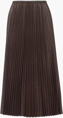 Valentino Pleated Leather Maxi Skirt
