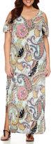 MSK Short Sleeve Cold Shoulder Paisley Maxi Dress-Plus
