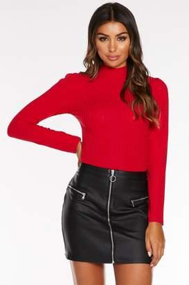 Quiz Black Faux Leather Zip Front A-Line Skirt