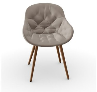 Calligaris Igloo Soft Tufted Upholstered Queen Anne back Side Chair Frame Color: Walnut Beech Wood, Upholstery Color: Sand Venice
