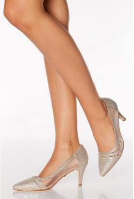 Quiz Gold Diamante Mesh Mid Heel Courts
