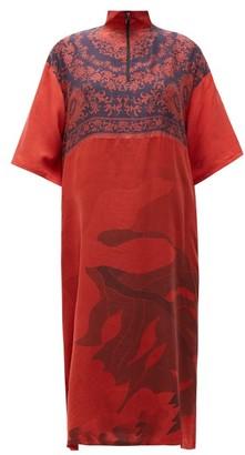 Marine Serre Zip-neck Floral-print Upcycled-silk Midi Dress - Red