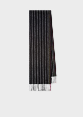 Paul Smith Men's Charcoal Two-Stripe Wool-Cashmere Scarf
