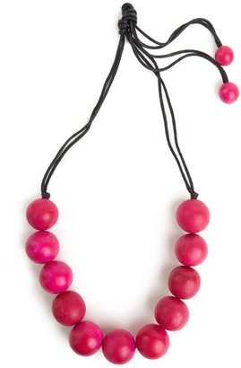 Natori Large Wood Bead Necklace - Rose Pink