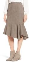 Halogen Petite Women's Asymmetrical Ruffle Hem Skirt