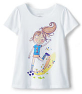 Classic Girls Plus Scallop Edge Graphic Tee-Soccer Girl