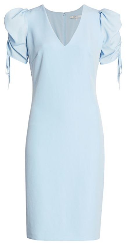 Badgley Mischka Shirred-Sleeve Cocktail Dress