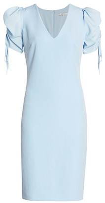 Badgley Mischka Shirred-Sleeve Cocktail Dress