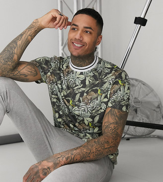 ASOS DESIGN Tall relaxed all over tiger print t-shirt with contrast neck in linen look
