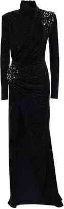 Redemption Glittered Velvet Long Dress W/embroidery