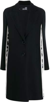 Love Moschino side-stripe logo print coat