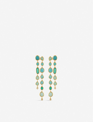 Monica Vinader Siren 18ct gold-plated sterling silver, rock crystal, chrysoprase, green onyx and amazonite gemstone earrings
