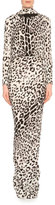 Tom Ford Long-Sleeve Low-Back Jaguar-Print Gown, Gray/Black