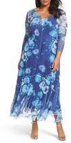 Komarov Plus Size Women's Print Chiffon Long Dress