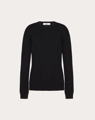 Valentino Cashmere Jumper With Poetry Detailing Women Black Cashmere 100% L