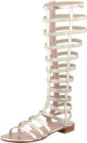 Stuart Weitzman Gladiator Metallic Stretch Sandal, Cava