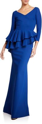 Chiara Boni V-Neck Layered Peplum 3/4-Sleeve Gown
