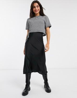 AllSaints benno lin stripe t-shirt 2 in 1 slip midi dress