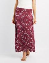 Charlotte Russe Printed Foldover Maxi Skirt