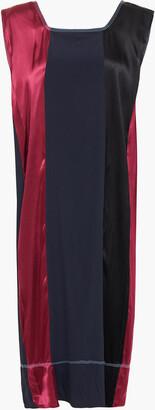 Marni Crepe-paneled Color-block Satin Midi Dress