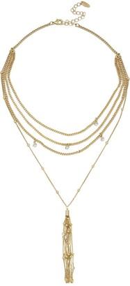 Ettika 18K Gold Plated CZ Multi Chain Tassel Pendant Necklace