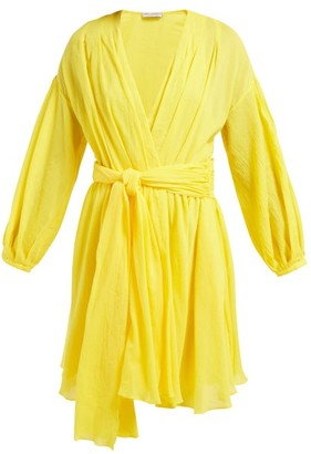 Three Graces London Carina Belted Cotton Voile Dress - Womens - Yellow