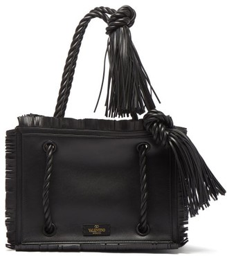 Valentino The Rope Small Leather Tote Bag - Black