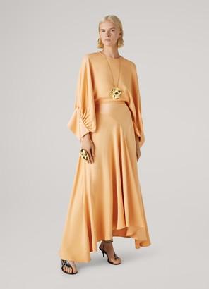 St. John Satin Back Crepe Cape Dress