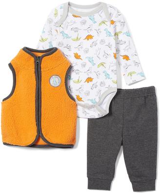 Wee Play Boys' Infant Bodysuits Orange - Orange & Gray Dinosaur Vest Set - Infant
