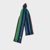 Paul Smith Men's Navy Reversible Striped Wool Scarf