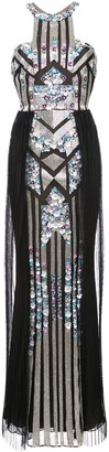 Marchesa Notte Pleated Sequined Column Gown
