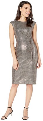 Tahari ASL Petite Hammered Stretch Metallic Side Tie Dress (Bronze Black) Women's Dress
