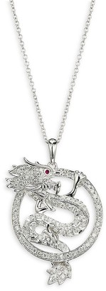 Effy 14K White Gold, Diamond Ruby Dragon Pendant Necklace