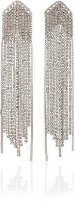 Fallon Feathered Waterfall Fringed Rhodium-Plated Crystal Earrings