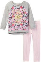 Juicy Couture French Terry Floral Top & Stretch Faux Suede Pant Set (Toddler Girls)