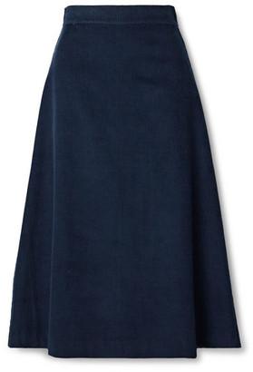 ARoss Girl x Soler Alma Cotton-corduroy Midi Skirt - Navy