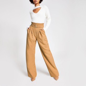 River Island Womens Beige buckle belted wide leg trousers