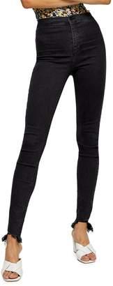 Topshop TALL Washed Black Jagged Hem Joni Jeans 34-Inch Leg