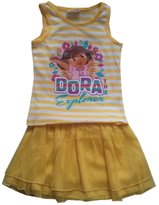 BigBoyMusic DORA THE EXPLORER - Dancing Dora - Adorable 2 Piece Toddler Set - TankTop T-shirt and Layered Dancing Skirt - size Large (4T)