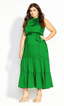 City Chic Halter Lady Maxi Dress - shamrock