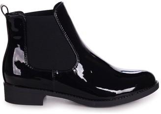Linzi AIDA - Black Patent Classic Chelsea Boot With Elasticated Side Panels