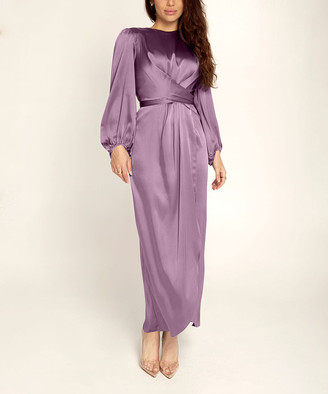 Vicky and Lucas Women's Special Occasion Dresses Purple - Purple Crossover Bishop-Sleeve Midi Dress - Women