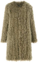 Whistles Longline Knit Sheepskin Coat