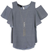 Byer California Girls 7-16 Girls triped Cold-Shoulder Top and Necklace Set