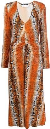 Rotate by Birger Christensen Snakeskin Print Maxi Dress