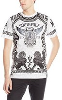 Southpole Men's Foil and Screen Print Graphic T-Shirt with Winged Lion Patterns