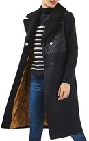 Topshop Faux Shearling Collar Coat