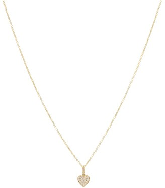 Sydney Evan Heart Charm 14kt gold necklace with diamonds