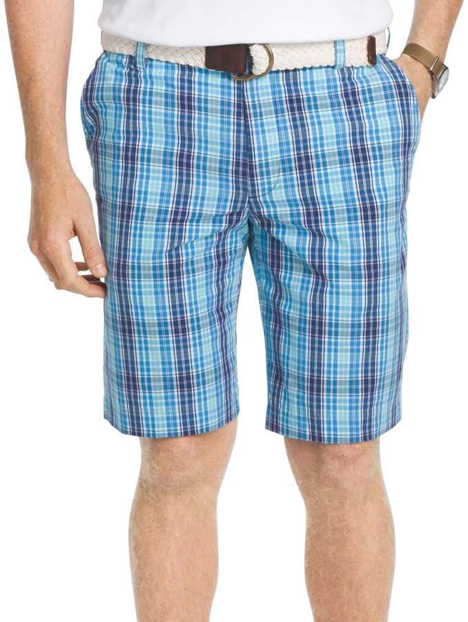 Izod Men's Flat Front Yard Colored Large Plaid Shorts