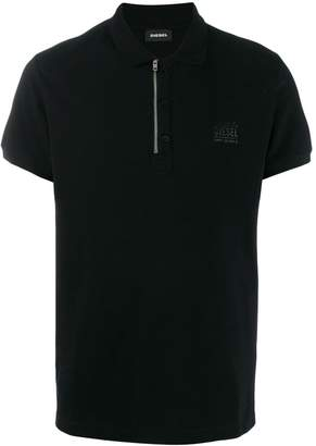 Diesel zip-and-button polo shirt